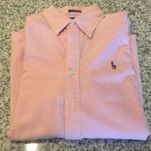 RALPH LAUREN Classic Fit Cotton Pink Dress Shirt